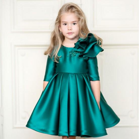 Rochie de ocazie din tafta cu floare Emerald