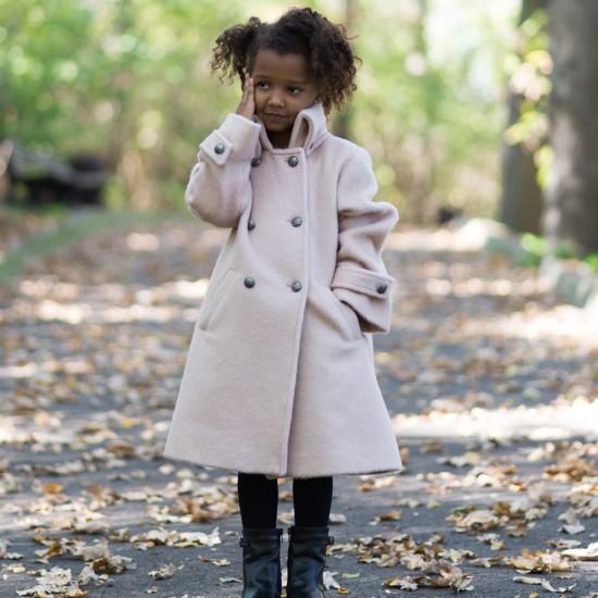 Palton clasic din stofa groasa crem