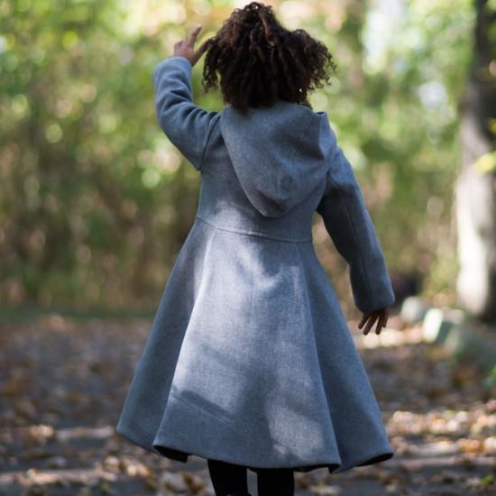 Palton din stofa gri cu gluga copii