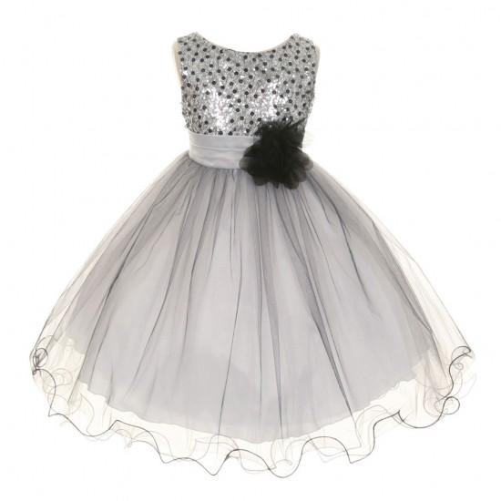 Rochie aniversare cu paiete argintii