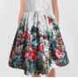 Rochie fete din tafta cu flori rosii si verzi