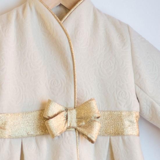 Pardesiu din stofa cu model floral Golden Fairytale